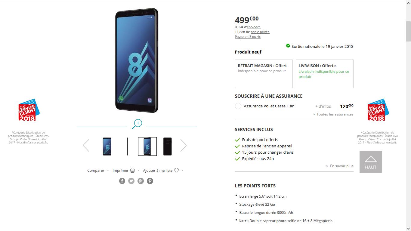 Galaxy A8 Boulanger.com