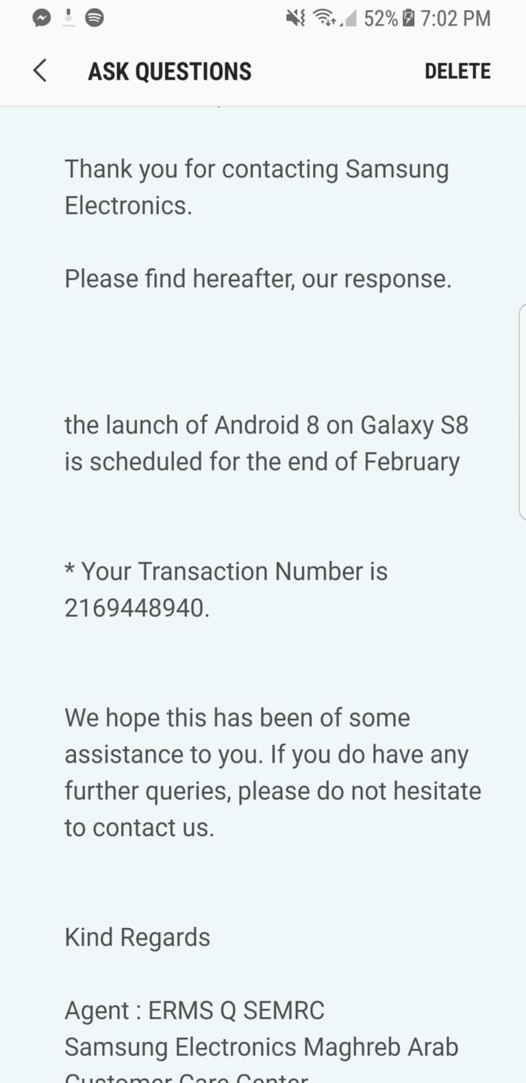 S8 Oreo update