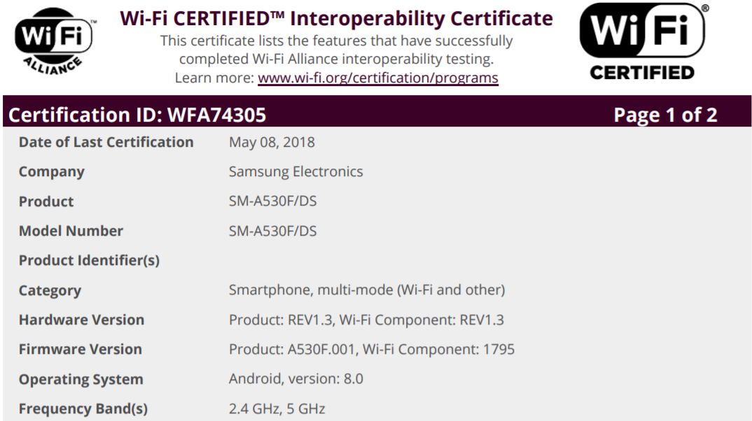Galaxy A8 Oreo WiFi Certification