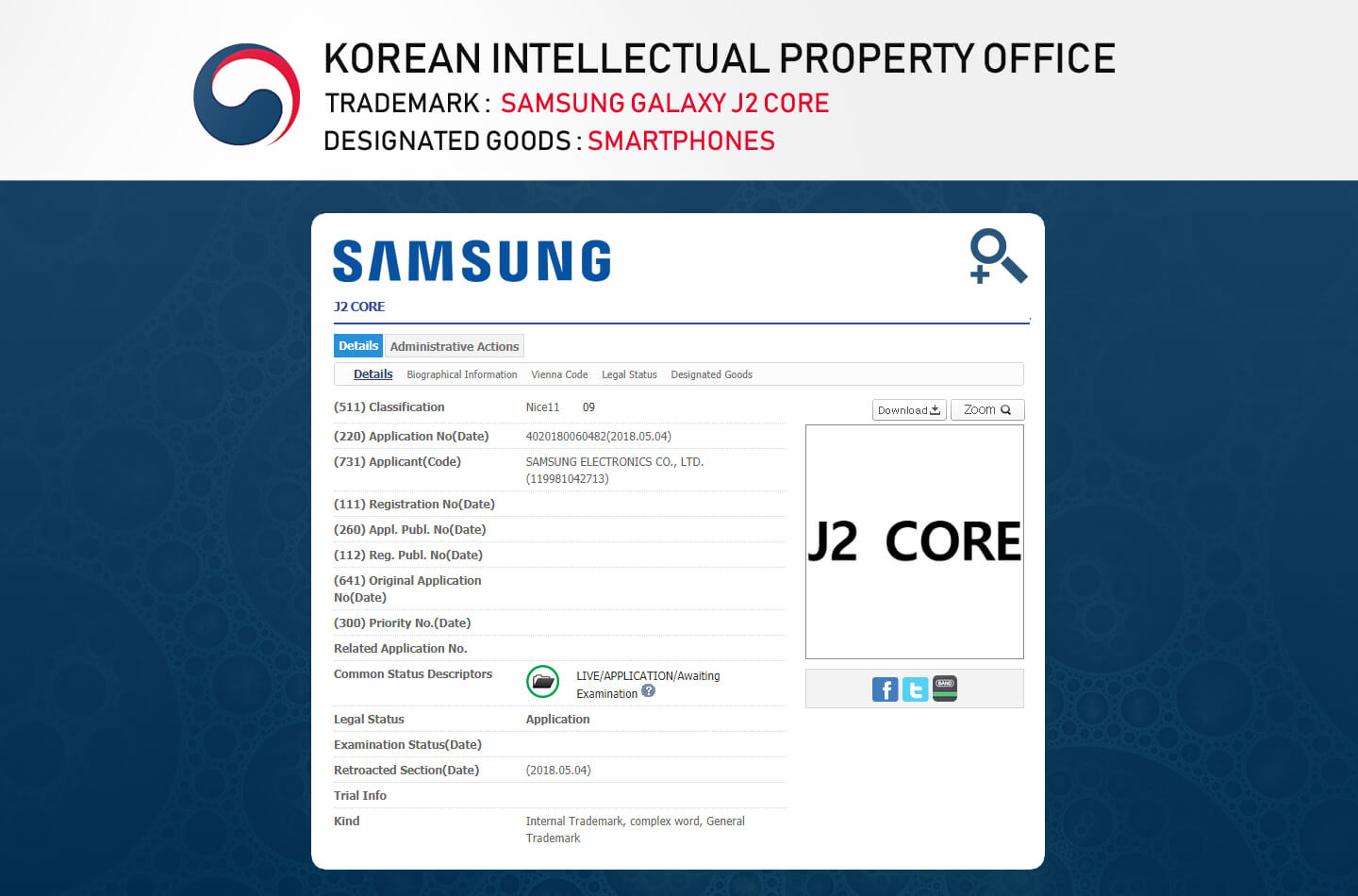 Galaxy J2 Core leak