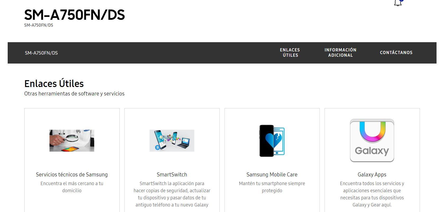 Page support du SM-A750FN/DS sur Samsung Espagne