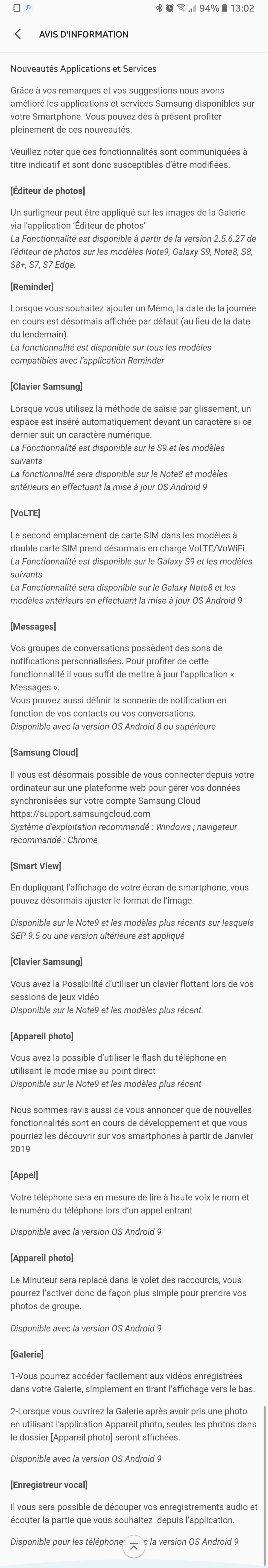 Samsung FR - MàJ Android 9.0 Pie