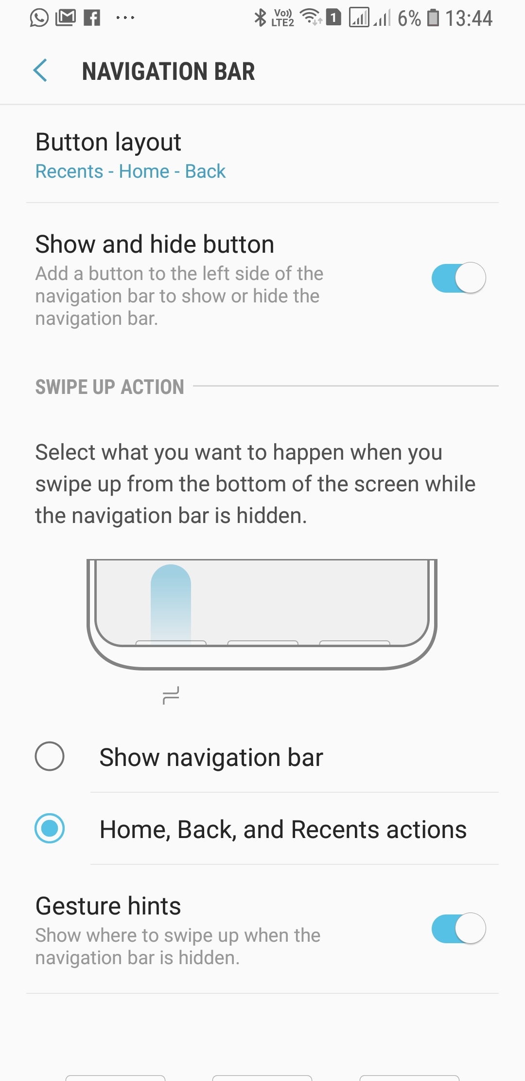 Galaxy A7 et son option de gestes de navigation