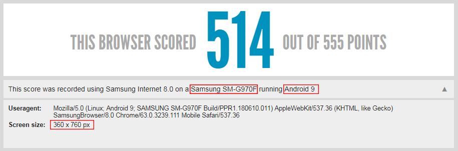 Test navigateur du Galaxy S10 Lite