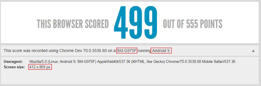 Test navigateur du Galaxy S10+