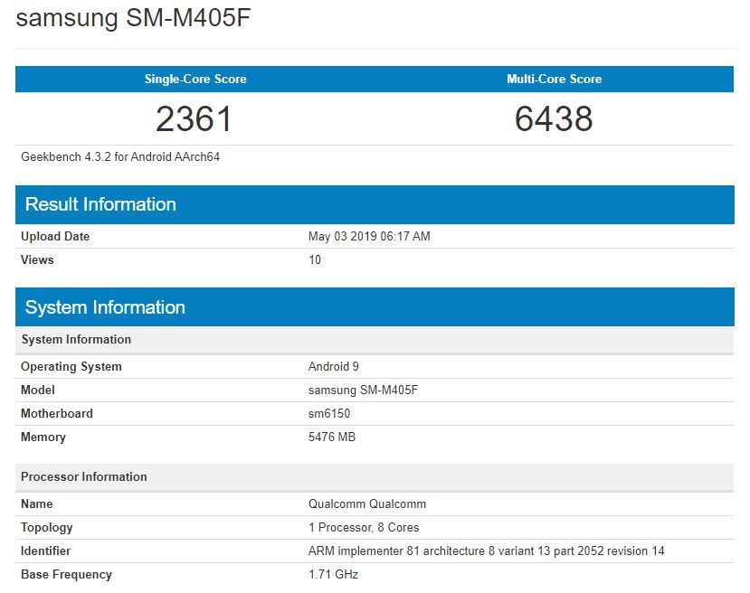 liste Geekbench Galaxy M40