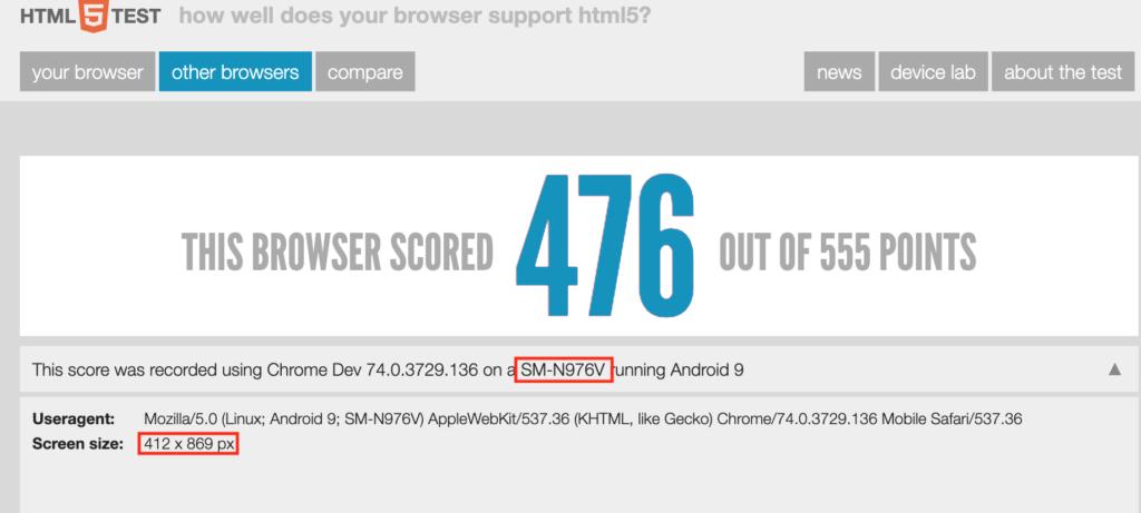 HTML5Test Galaxy Note 10