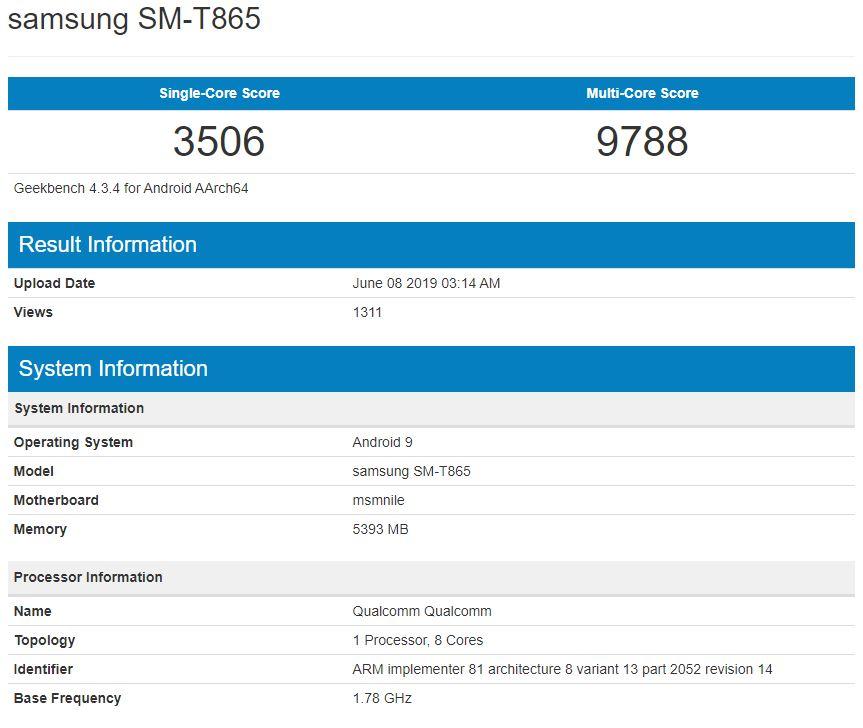 Galaxy Tab S5 Geekbench