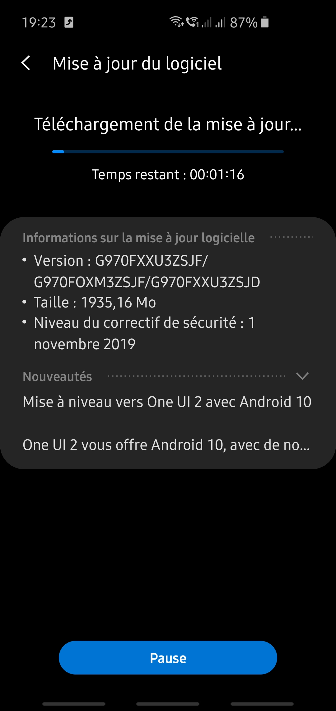 bêta One UI 2 / Android 10