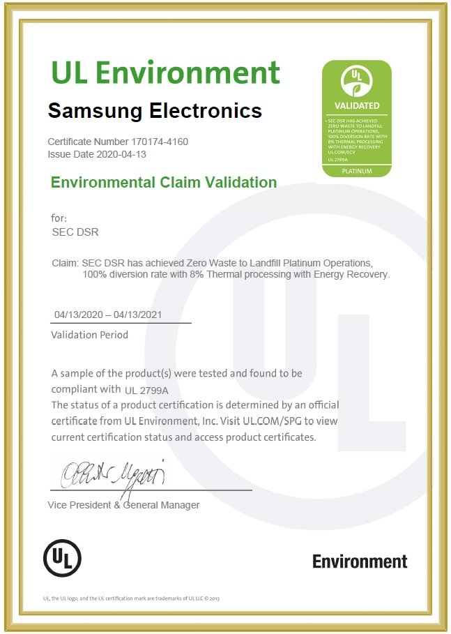 certification environnementale Samsung