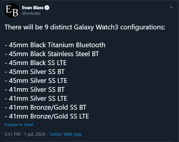 modèles de Galaxy Watch 3